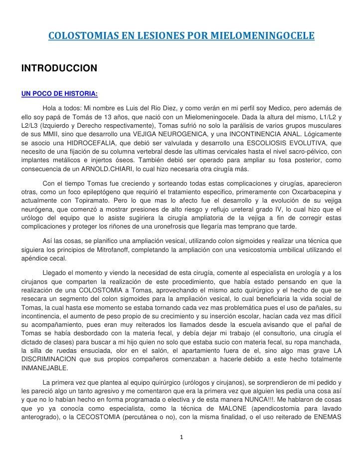 """COLOSTOMIAS EN LESIONES POR MIELOMENINGOCELE<br /> HYPERLINK """"http://colostomiasenmielomeningoceles.blogspot.com/2011/01/i..."""