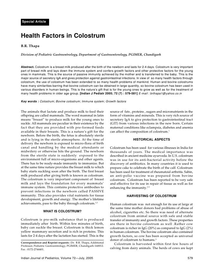 Health Factors In Colostrum