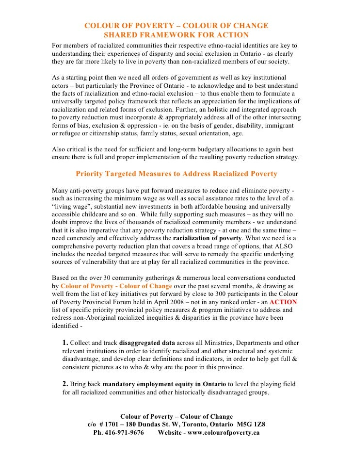 COLOUR OF POVERTY – COLOUR OF CHANGE                SHARED FRAMEWORK FOR ACTION For members of racialized communities thei...