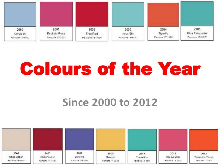 Colours of the Year    Since 2000 to 2012