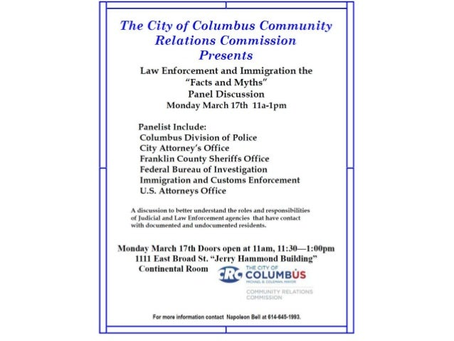Columbus Community Relations:  leading discussion on immigration