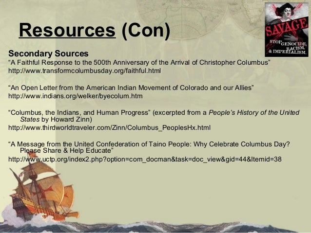 an essay on christopher columbus the indians and the human progress