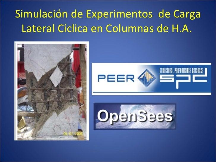 Simulaci ón de Experimentos  de Carga Lateral Cíclica en Columnas de H.A.
