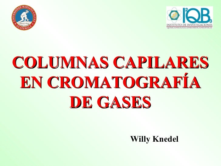 COLUMNAS CAPILARES EN CROMATOGRAFÍA DE GASES Willy Knedel