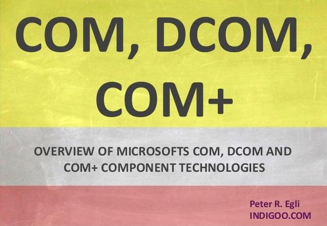 © Peter R. Egli 2015 1/20 Rev. 1.60 COM – DCOM - COM+ indigoo.com Peter R. Egli INDIGOO.COM OVERVIEW OF MICROSOFTS COM, DC...