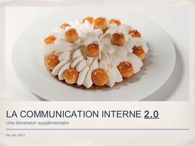 LA COMMUNICATION INTERNE 2.0Une dimension supplémentaire1er juin 2012