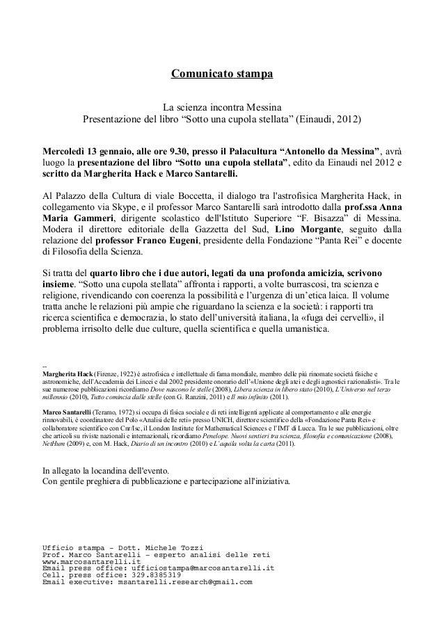 Com. stampa   palacultura messina, presentazione libro margherita hack e marco santarelli
