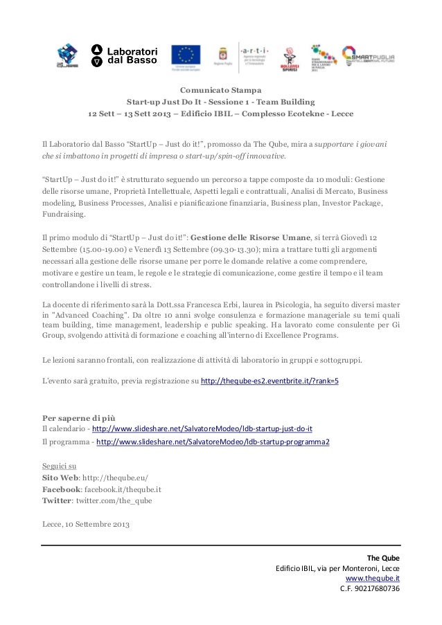 Comunicato stampa 12-13 settembre 2013