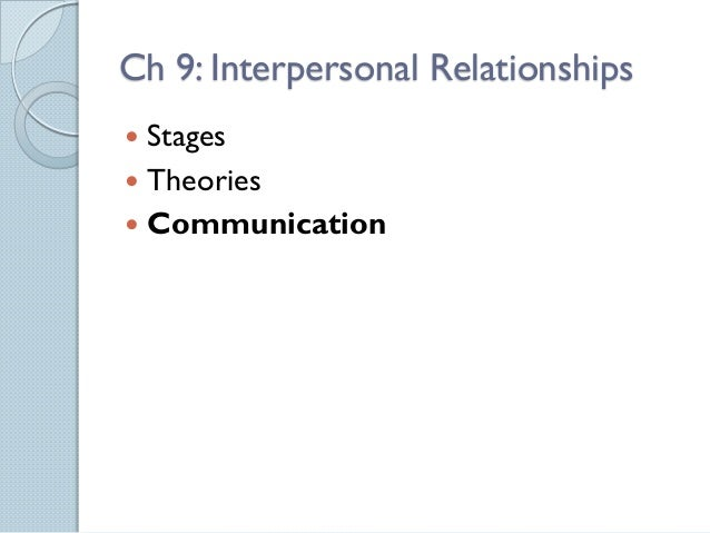 Ch 9: Interpersonal Relationships Stages Theories Communication