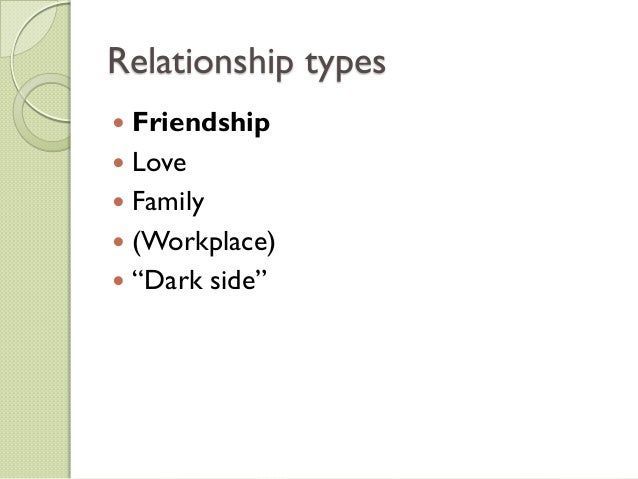 "Relationship types Friendship Love Family (Workplace) ""Dark side"""