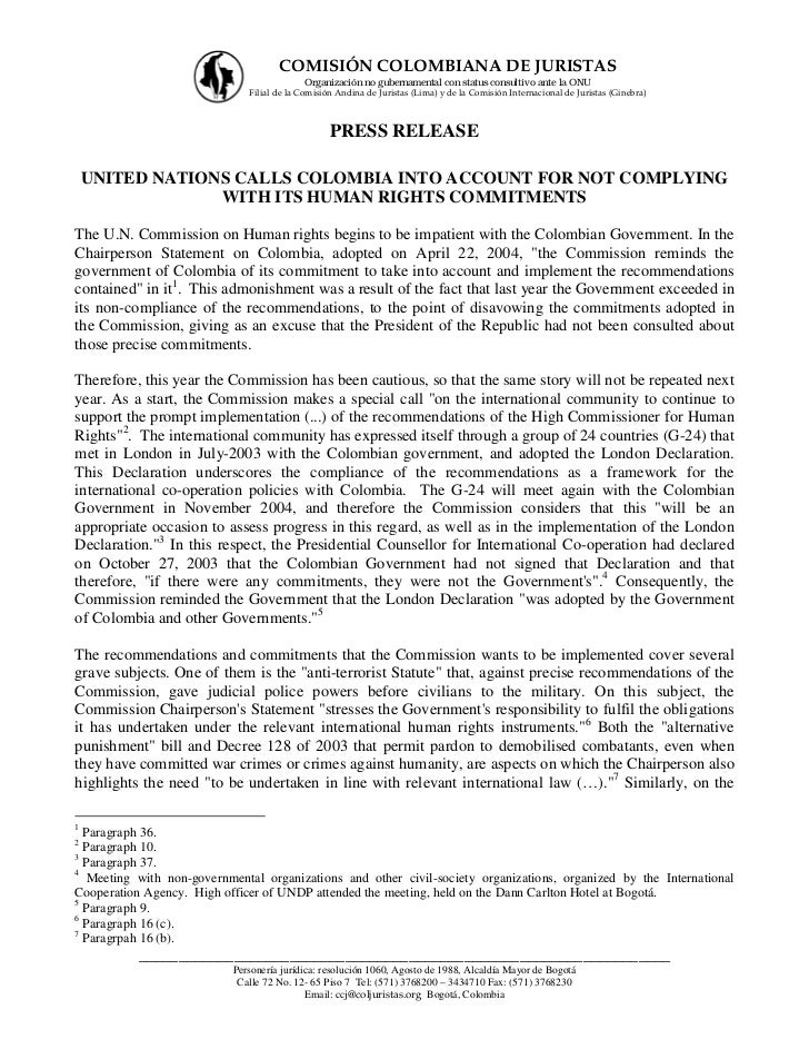 United Nations calls Colombia into account for not complying with its human rights commitments