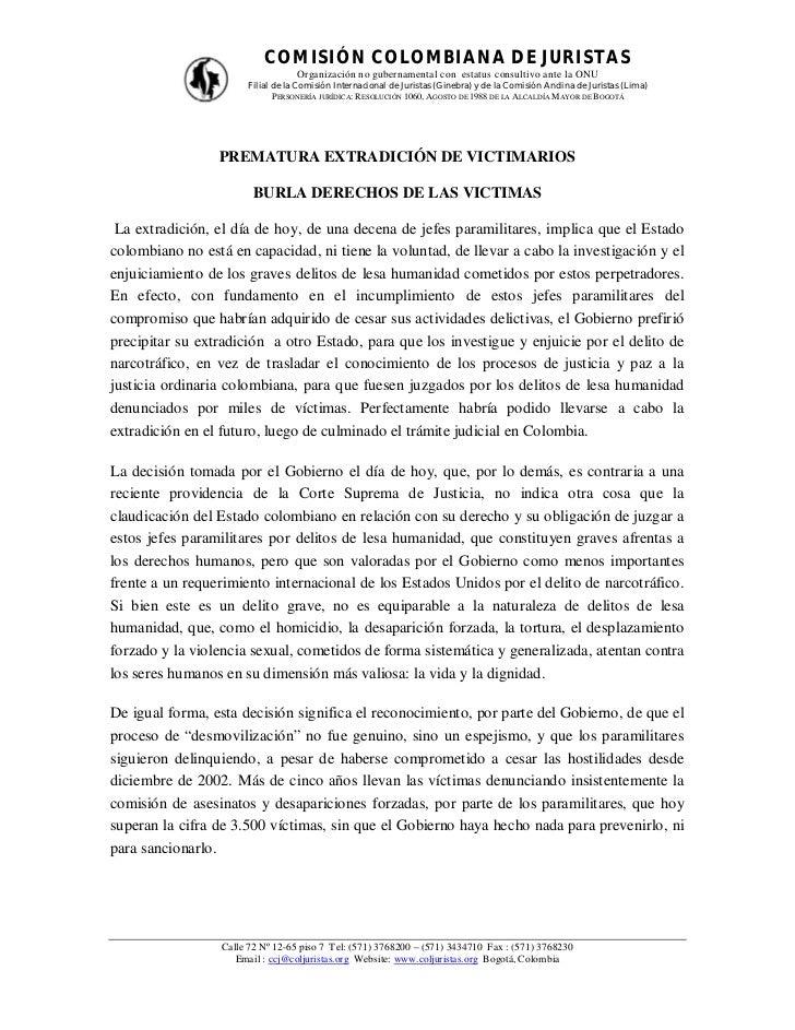 COMISIÓN COLOMBIANA DE JURISTAS                                   Organización no gubernamental con estatus consultivo ant...
