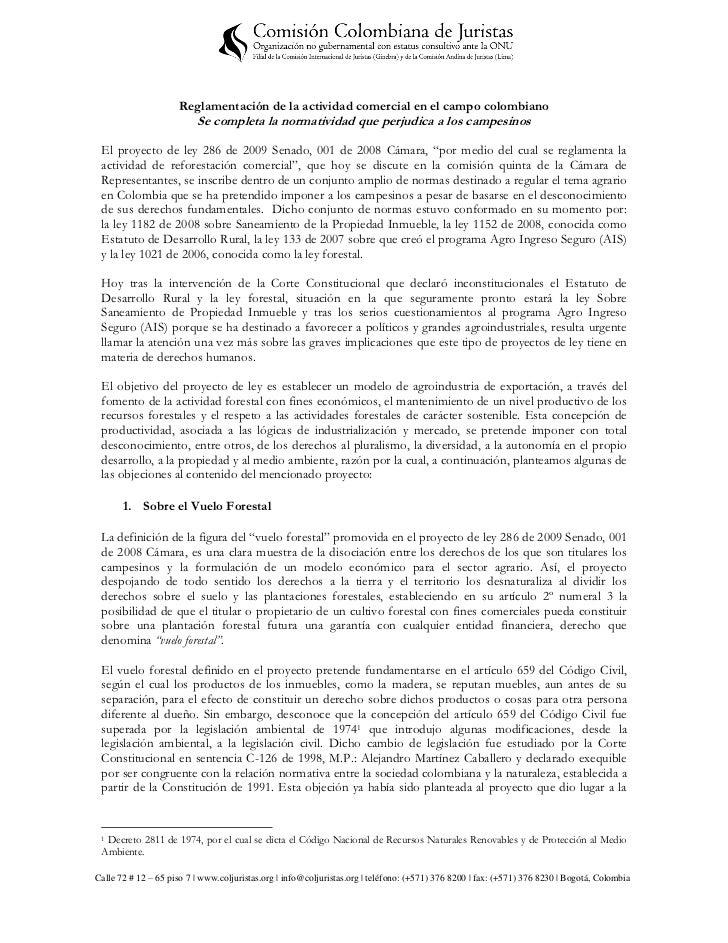 Reglamentación de la actividad comercial en el campo colombiano