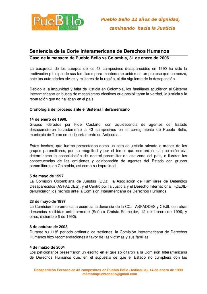 Caso de la masacre de Pueblo Bello vs Colombia, 31 de enero de 2006