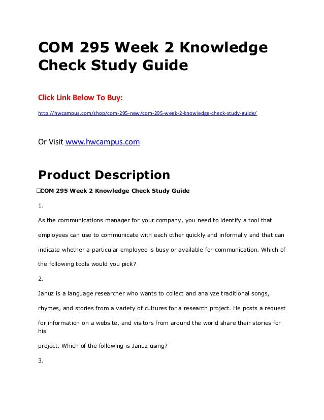 week 4 knowledge check study guide Free essay: eth 321 week 4 knowledge check study guide click link below to buy.