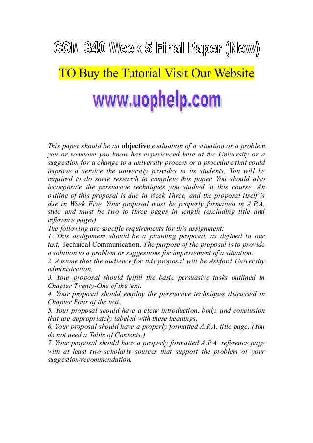 TO Buy the Tutorial Visit Our Website This paper should be an objective evaluation of a situation or a problem you or some...