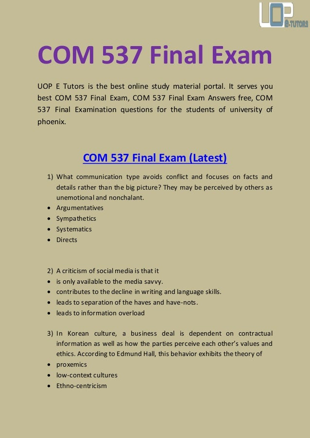 final exam questions Examination questions and answers the following are links to examination questions and answers for later reference practice exams are posted approximately one week before the corresponding.