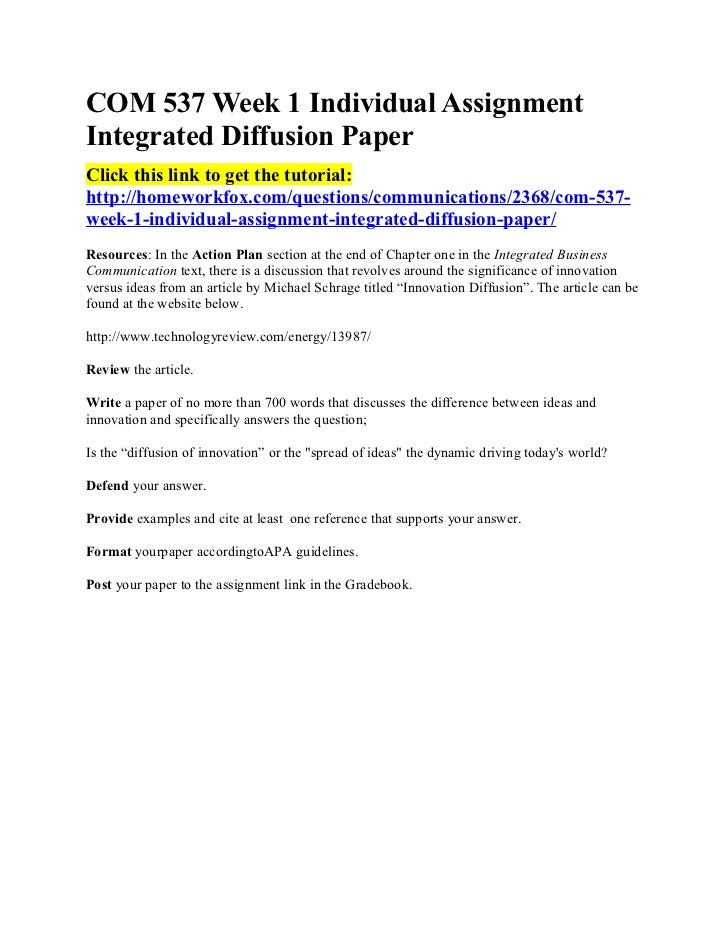 Com 537 week 1 individual assignment integrated diffusion paper