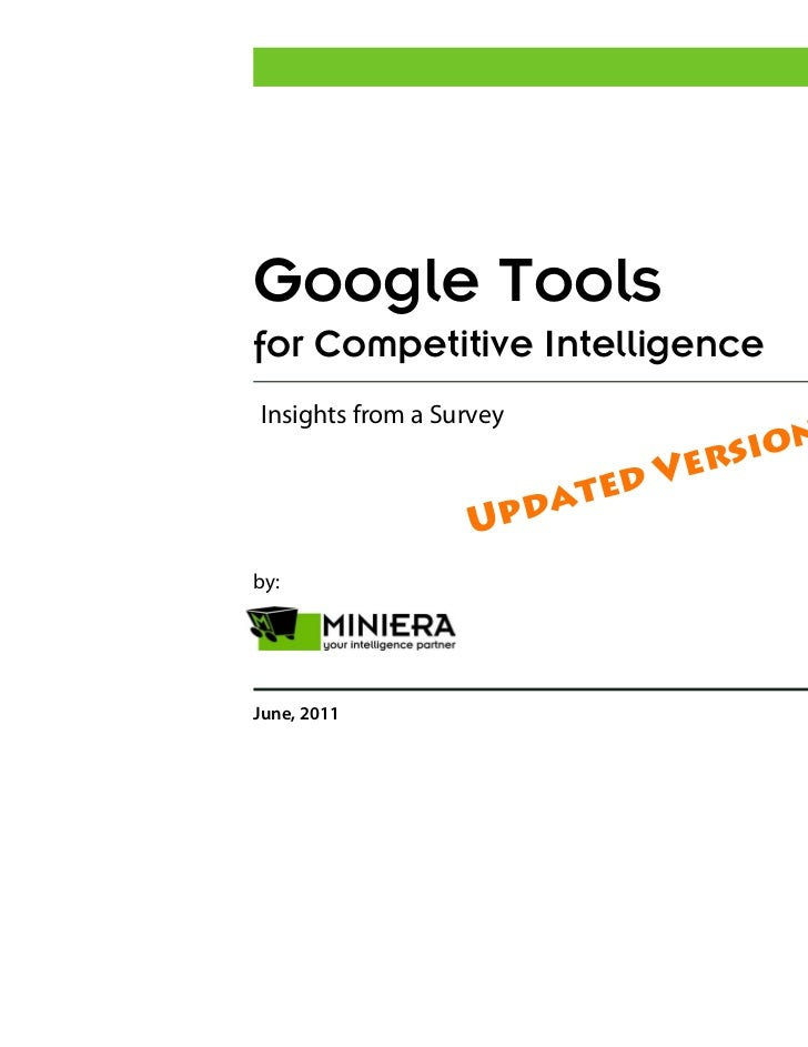 Google Tools for Competitive Intelligence