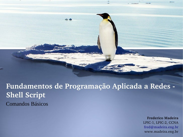 FundamentosdeProgramaçãoAplicadaaRedesShellScriptComandos Básicos                                      Frederico...