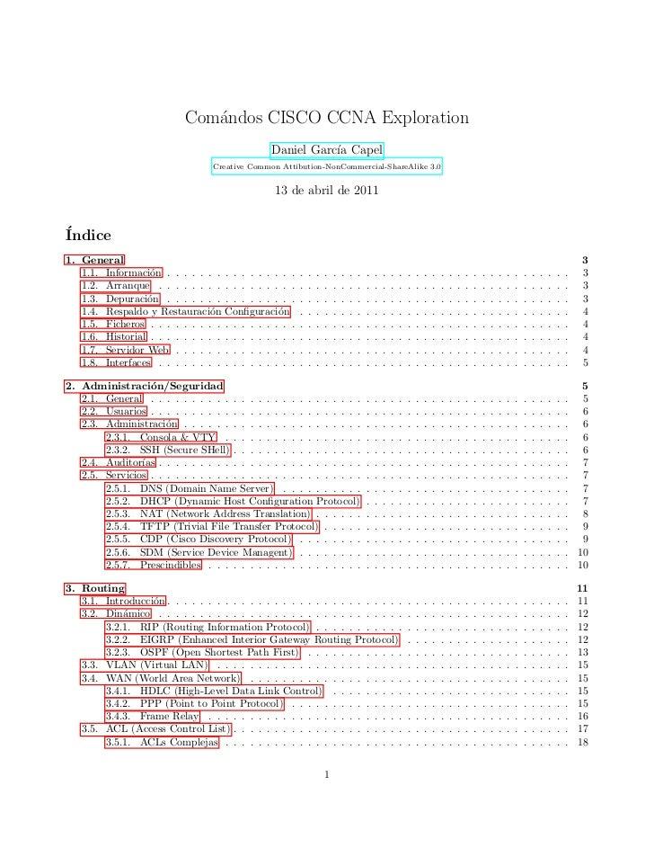 Com´ndos CISCO CCNA Exploration                              a                                                 Daniel Garc...