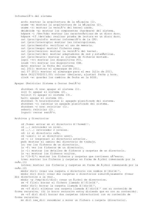 Información del sistema arch: mostrar la arquitectura de la máquina (1). uname -m: mostrar la arquitectura de la máquin...