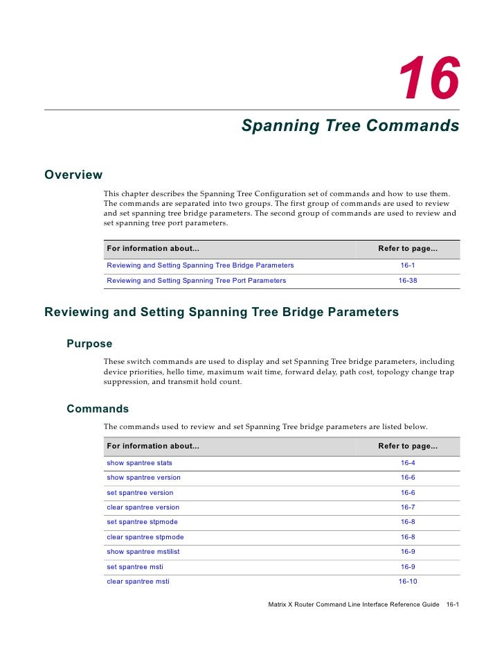 16                                                  Spanning Tree Commands  Overview            This chapter describes the...
