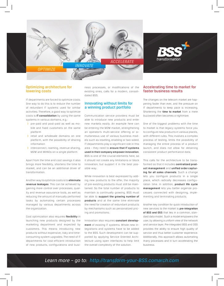 Optimize - Innovate - Accelerate. 3 steps to BSS transformation