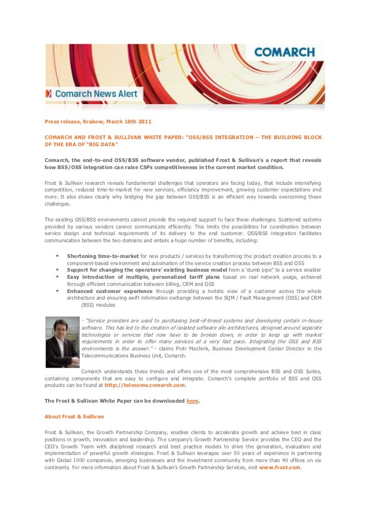 """Comarch and Frost & Sullivan White Paper: """"OSS/BSS Integration – The Building Block of the Era of """"Big Data"""""""
