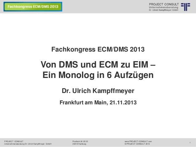 """[DE] Vortrag """"Von DMS und ECM zu EIM – Ein Monolog in 6 Aufzügen"""" auf dem Fachkongress ECM/DMS 2013"""