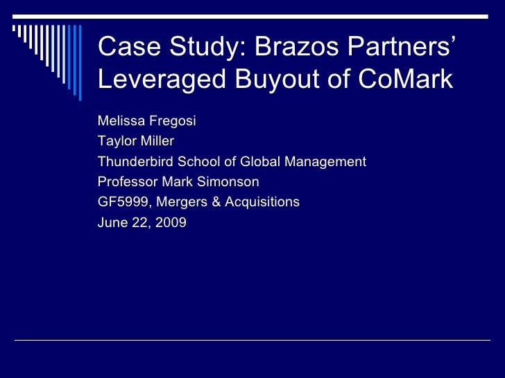 brazos partners the comark lbo Custom brazos partners: the comark lbo, spanish version harvard business (hbr) case study analysis & solution for $11 finance & accounting case study assignment help, analysis, solution,.