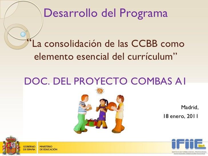 """Desarrollo del Programa""""La consolidación de las CCBB como elemento esencial del currículum""""DOC. DEL PROYECTO COMBAS A1    ..."""
