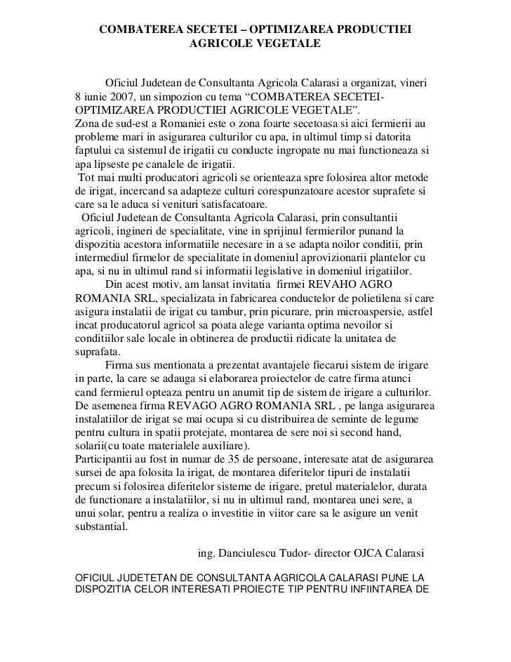 COMBATEREA SECETEI – OPTIMIZAREA PRODUCTIEI                AGRICOLE VEGETALE       Oficiul Judetean de Consultanta Agricol...