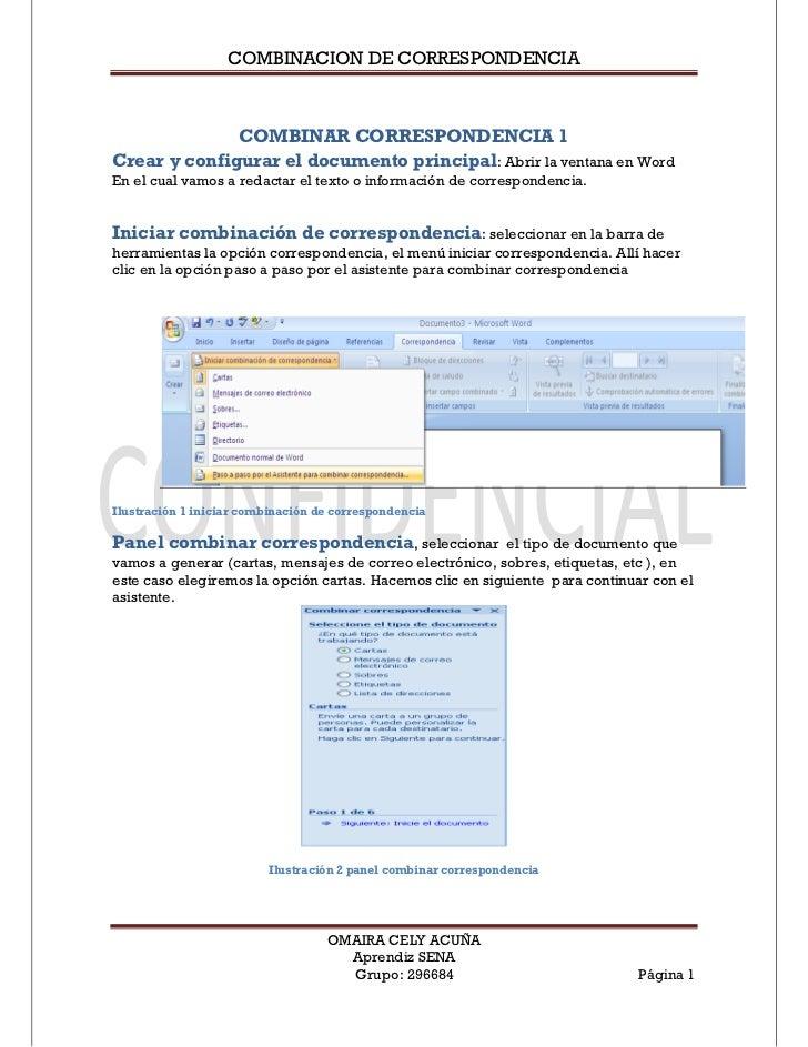 COMBINACION DE CORRESPONDENCIA              COMBINAR CORRESPONDENCIA 1Crear y configurar el documento principal: Abrir la ...