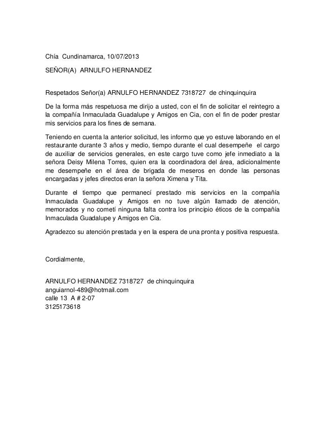 Chía Cundinamarca, 10/07/2013 SEÑOR(A) ARNULFO HERNANDEZ Respetados Señor(a) ARNULFO HERNANDEZ 7318727 de chinquinquira De...