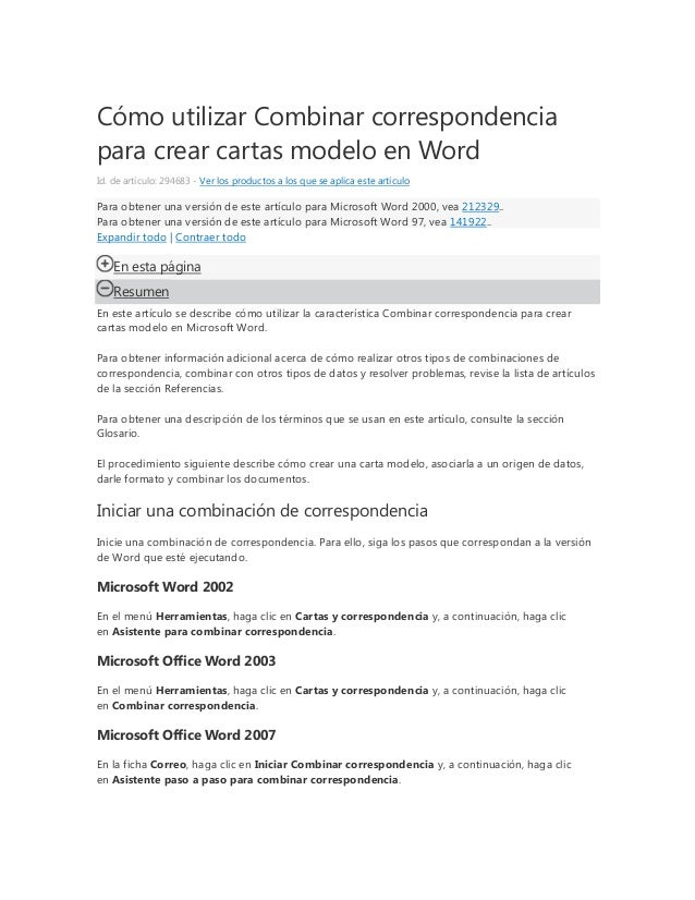 Cómo utilizar Combinar correspondenciapara crear cartas modelo en WordId. de artículo: 294683 - Ver los productos a los qu...