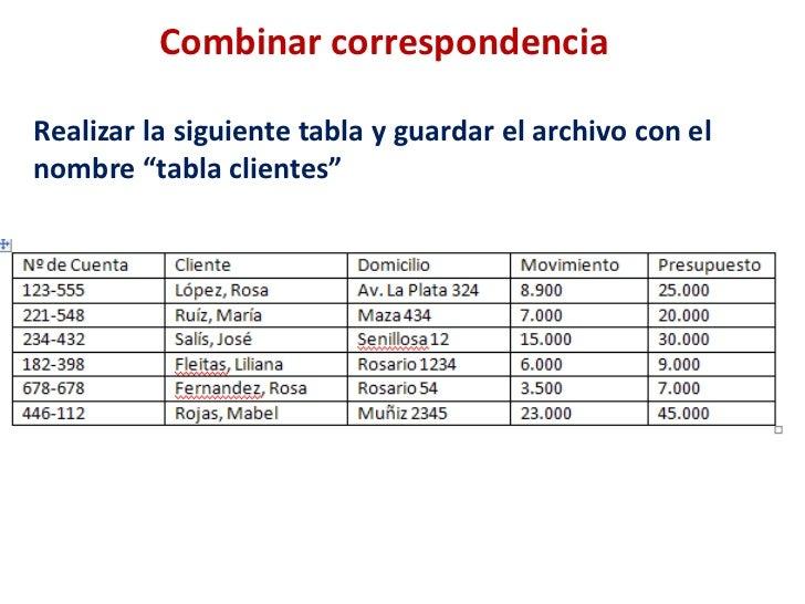 """Combinar correspondencia<br />Realizar la siguiente tabla y guardar el archivo con el nombre """"tabla clientes""""<br />"""