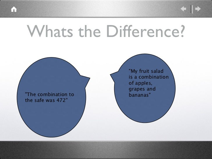 """Whats the Difference? """"My fruit salad is a combination of apples, grapes and bananas""""   """"The combination to..."""