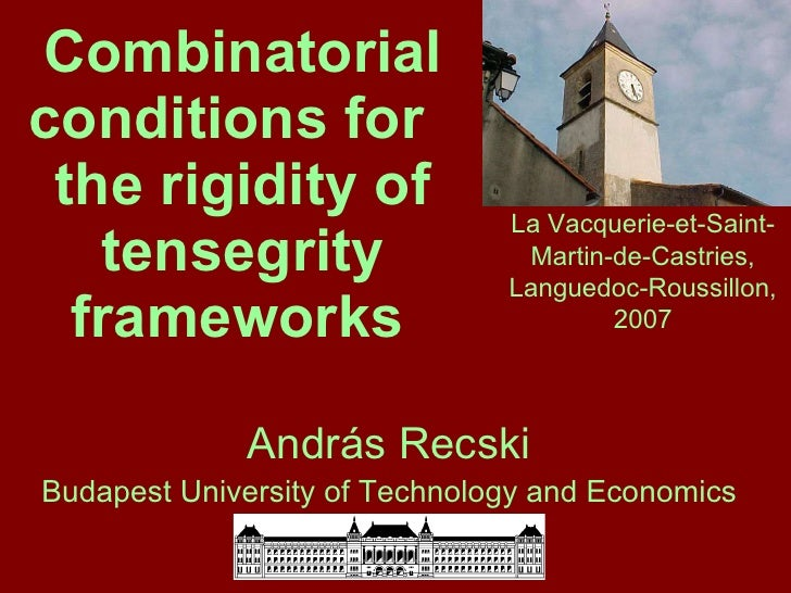 Combinatorial conditions for  the rigidity of tensegrity frameworks   András Recski Budapest University of Technology and ...