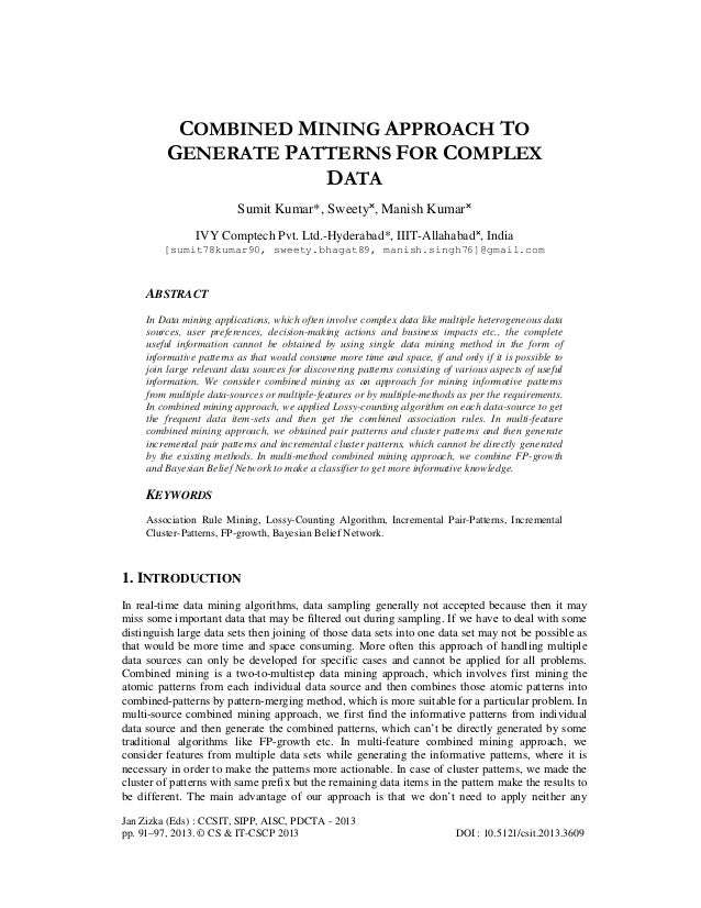 Combined mining approach to generate patterns for complex data