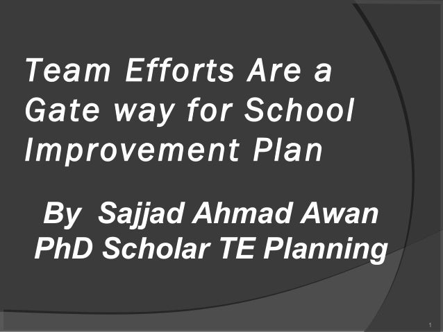Team Efforts Are Gate Ways for School Improvement Plan By Sajjad Awan PhD Scholar TE Planning