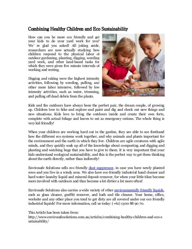 Combining healthy children and eco sustainability