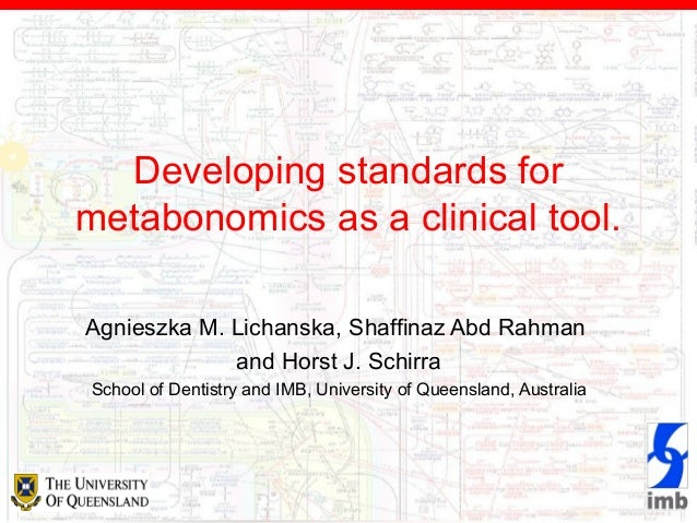 Developing standards for metabonomics as a clinical tool.