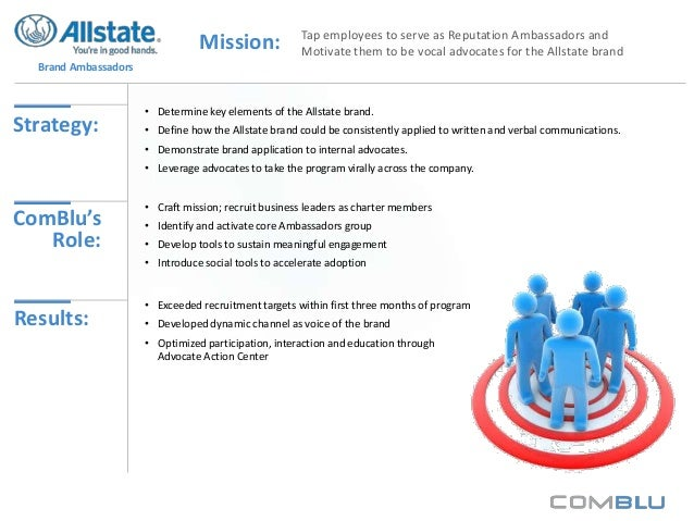 Mission:  Tap employees to serve as Reputation Ambassadors and Motivate them to be vocal advocates for the Allstate brand ...