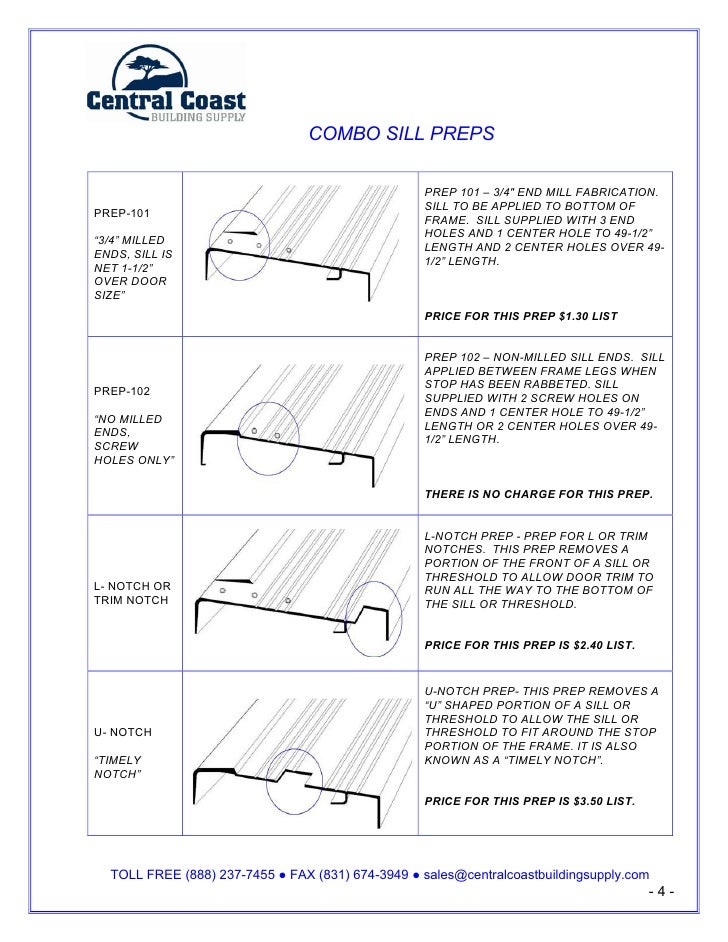 """COMBO SILL PREPS                                                    PREP 101 – 3/4"""" END MILL FABRICATION.                 ..."""