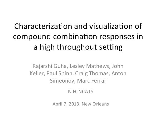 Characterization and visualization of compound combination responses in a high throughout setting