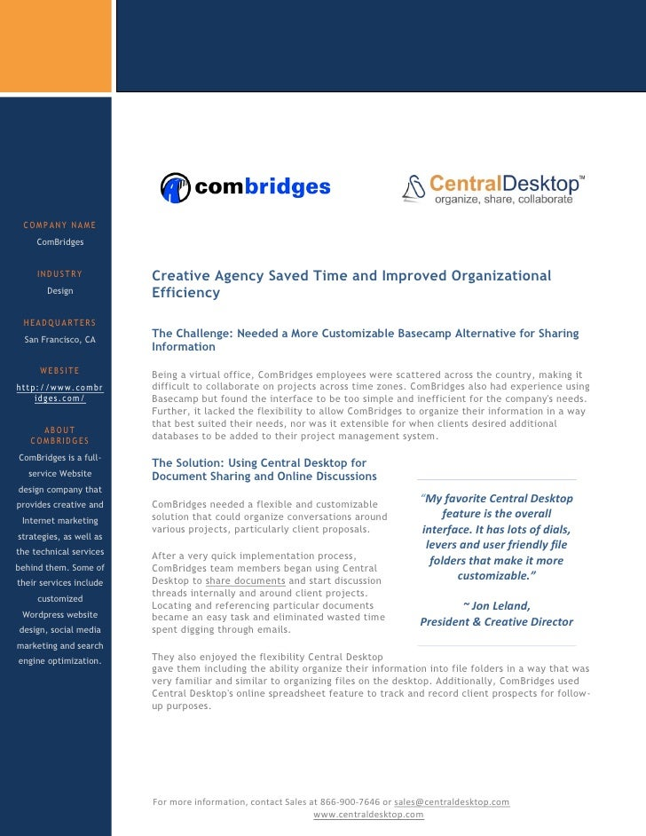 COMPANY NAME      ComBridges        INDUSTRY            Creative Agency Saved Time and Improved Organizational        Desi...