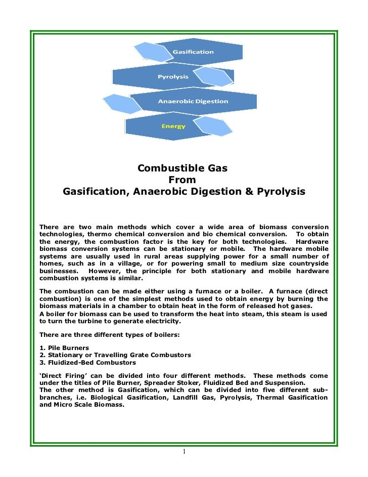 Combustible Gas                           From       Gasification, Anaerobic Digestion & PyrolysisThere are two main metho...