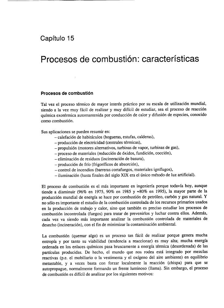 Capitulo 15Procesos de combustion: caracteristicasProcesos de combustidnTal vez el proceso tCrmico de mayor inter& prictic...
