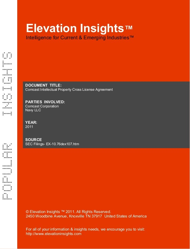 Elevation Insights™ | Comcast Intellectual Property Cross License Agreement (Comcast, Navy LLC )